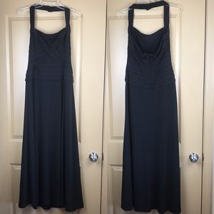 Tadashi Collection Black Halter Maxi Gown stretch